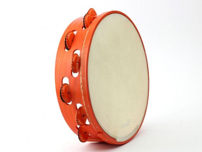 Pandereta Chapas color naranja