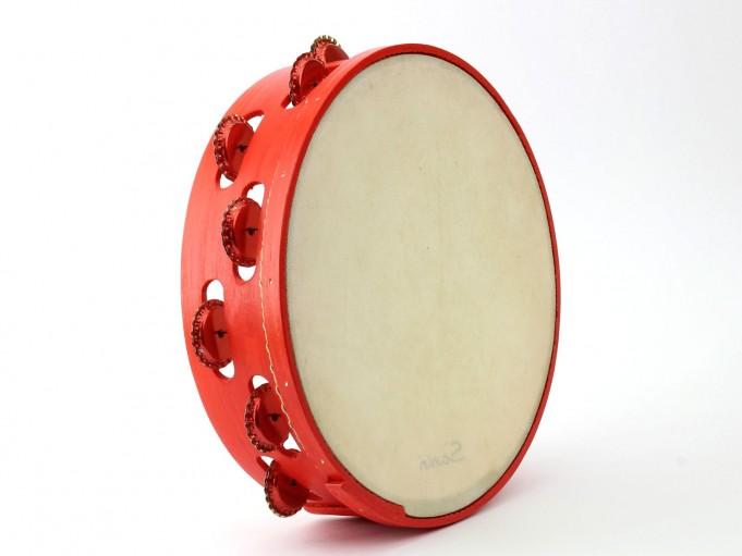 Pandereta Chapas color rojo