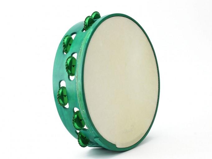 Pandereta Chapas color verde claro