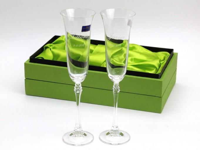 2 copas Champán en estuche verde