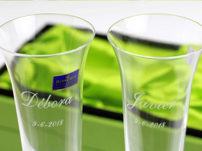 2 copas Champán - detalle del grabado