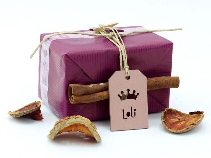 Etiqueta icono corona rosa palo