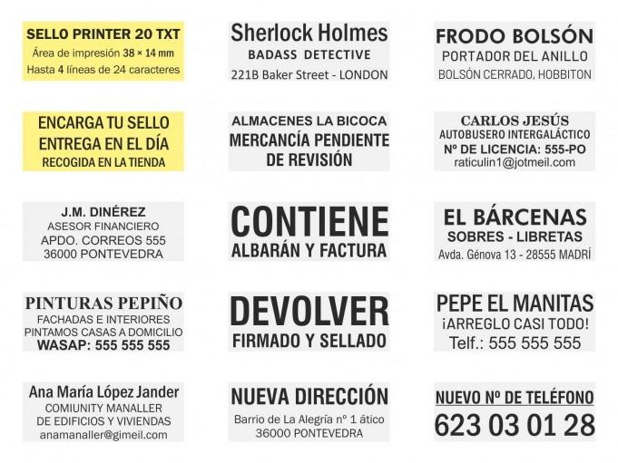 Ejemplos de sello Printer 20 TXT