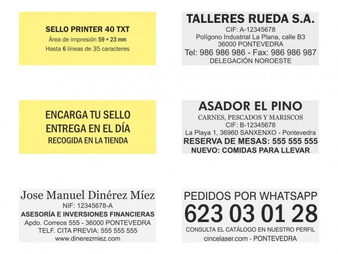 Ejemplos de sello Printer 40 TXT