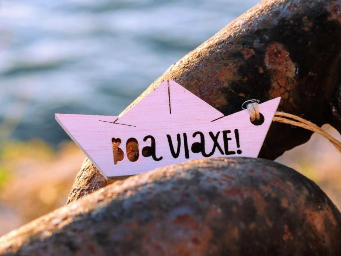 Etiqueta barquito con mensaje - Boa viaxe