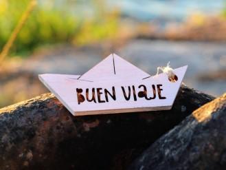 Etiqueta barquito con mensaje - Buen viaje