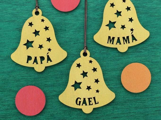 Adorno campana Navidad - Papá y mamá