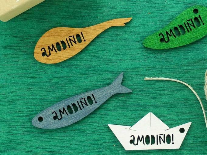 Etiqueta sardina con mensaje - gris azulado - AMODIÑO