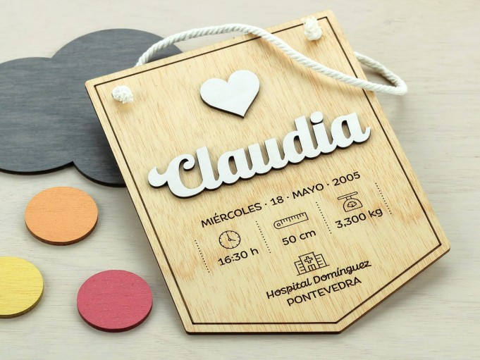 Banderín natalicio - Claudia